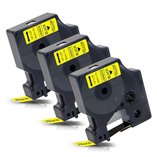 3x Labelwell 12mm 1/2 Kompatibel Schriftband Ersatz für DYMO 45018 S0720580 Schwarz auf Gelb für Dymo Labelwriter 450 Duo Turbo LabelManager 160 PNP 210D 360D 280 420P 500TS Labelpoint 250 150 100