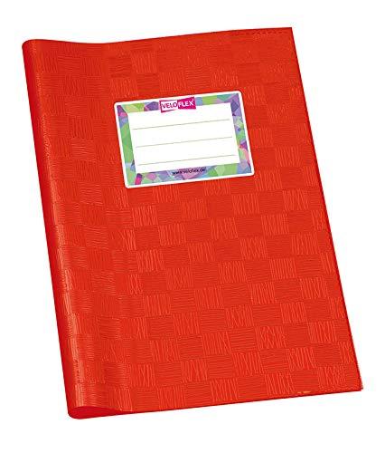 VELOFLEX 1352121 Hoes DIN A5, Bast-structuur, gedekte PP-folie, met naamlabel, rood, 25 stuks