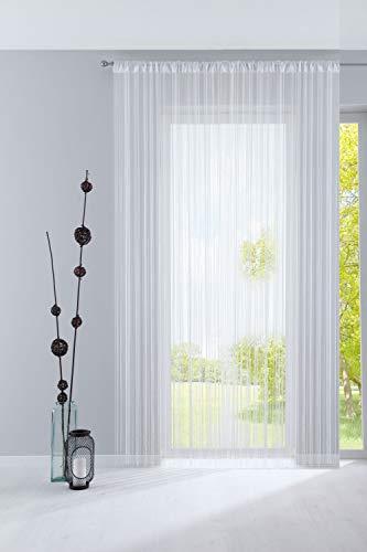 Fadengardine, HxB 250x300 cm, Weiß mit Tunneldurchzug und eingenähtem Kräuselband, geeignet für Gardinenstangen und Gardinenschienen Fadenvorhang Fadenstore Raumteiler, 20303CN