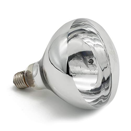 Fengrun 250watt Infrared Heating Lamp for Animal Poultry Swine Bathroom Warming Red Hard Glass Pet Light(250w,120v)
