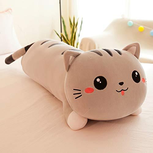 seemehappy Cute Cartoon Cat Soft Plush Long Throw Pillow Lifelike Animal Pillows Plush Toy Birthday Gift (43 inch,Grey)