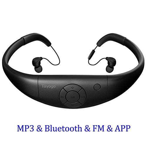 Tayogo Waterproof MP3 Player, Bluetooth Swimming Headphones with Shuffle Feature Support MP3 Play/FM/APP Control - Black