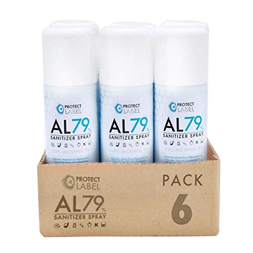 Pack 6 Hidroalcohol en Spray 200 ml. Protect Label Higienizante multisuperficies 79% Alcohol