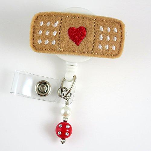 Bandaid with Heart Red - Nurse Badge Reel - Retractable ID Badge Holder - Nurse Badge - Badge Clip - Badge Reels - Pediatric - RN - Name Badge Holder