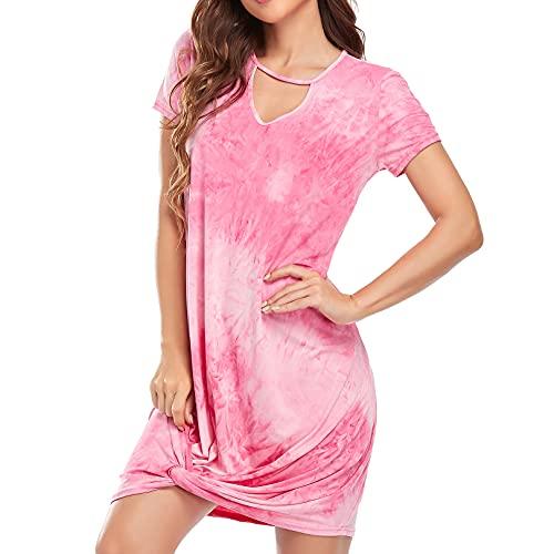 Sylanfia Kurzarm Lose Sommerkleid Für Frauen, V-Ausschnitt Seite Twist Knot Tunika Tie Dye Kleid Lässig Midi Kleid Sexy Strand T-Shirt Kleid - Rosa,XL