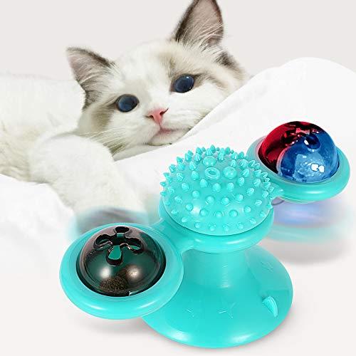 NINECY Windmühle Katzenspielzeug, Plattenspieler Katzenspielzeug mit Katzenminze und Glühender Ball, Drehbare Katzen Spielezeug Katze Tickle Massage Interaktives Katzenspielzeug mit Saugnapf Klebepad