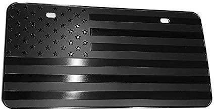 bparts USA Black Flag Metal Stamped Embossed License Plate 2 Hole (12
