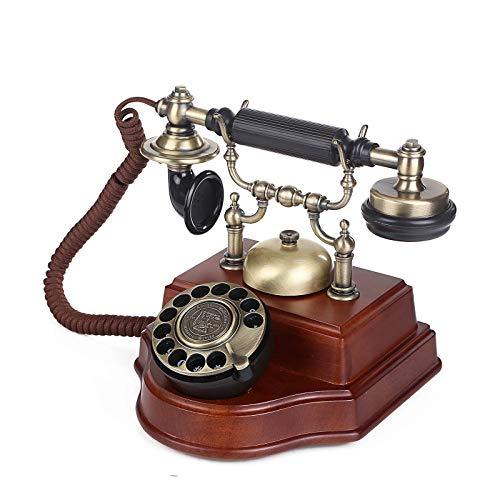 Feixunfan Teléfono Vintage Teléfono Antiguo Estilo Europeo Retro Madera Sólida Antigua Antigua Antigua Oficina Fija Línea Fija para la Decoración de la Sala de Estar del Hogar