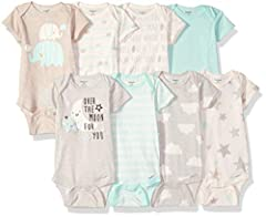 Includes eight Gerber short sleeve onesies bodysuits Soft cotton rib Higher-in-the-front bottom snap closure for easy changing