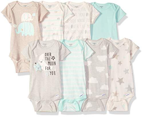Gerber Baby 8 Pack Short-Sleeve Onesies Bodysuits, Elephants, 3-6 Months