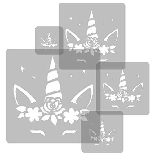 5 plantillas de plástico reutilizables // Unicornio #3 // 34 x 34 cm a 9 x 9 cm // Decoración para habitación de niños // Plantilla para guardería...