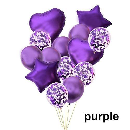 Lemon-Land 14 stks Kinderen Volwassen Verjaardag Party Decor Bruiloft Folie Metallic Ballonnen Set Confetti Ballon Star Heart(Purple)