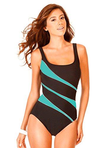 Miraclesuit Women's Swimwear Helix DD-Cup Tummy Control Scoop Neckline Underwire One Piece Swimsuit, Aquamarine, 18DD
