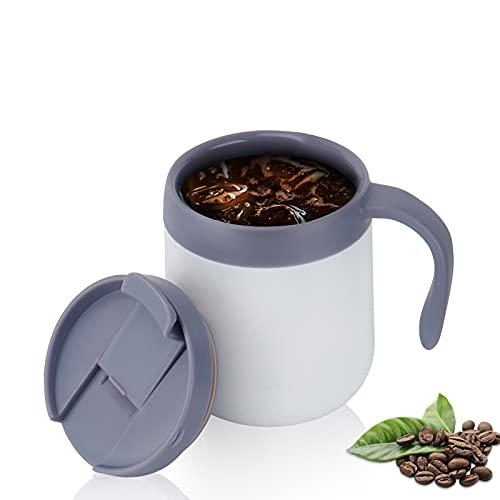 Classic Camp Kaffeetasse Doppelwandiger, 500ml Vakuum Auslaufsicher Thermobecher Edelstahl Trinkbecher mit Henkel & Deckel, für Büro Schreibtisch Arbeit (Weiß)