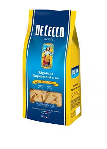 De Cecco 5X Rigatoni Napoletani Pâte No. 124 500 g 100 % pâte italienne.