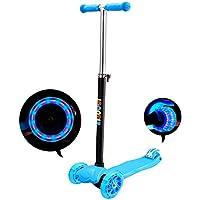 IMMEK Patinete de 3 Ruedas Scooter con Led Luces Manillar Altura Ajustable 73cm-83cm,Perfecto para los Niños, Asas ajustables y construcción ligera, azul