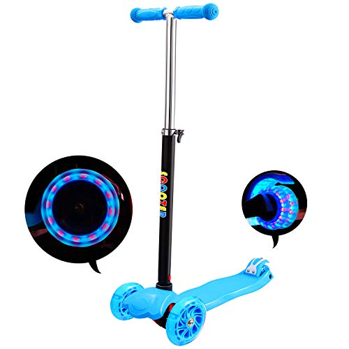IMMEK Patinete de 3 Ruedas Scooter con Led Luces Manillar Altura Ajustable 60cm-83cm, Niños Adjustable Handles & Lightweight Construction