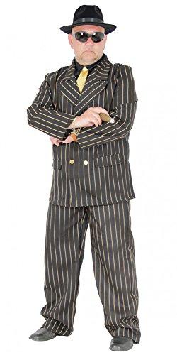 Foxxeo Mafia Boss Gangster Anzug für Herren Kostüm Karneval Fasching 20er Jahre Party Größe XXXL