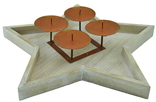 Vintage Adventskranz / Dekokranz Sternteller Holz/Metall 38cm