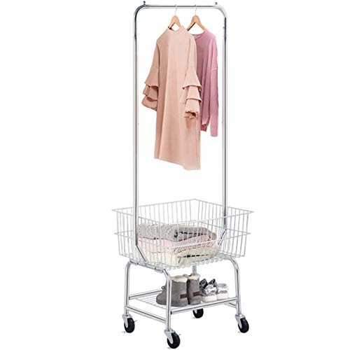 Yaheetech Wire Laundry Metal Cart with Double Pole Rack, Commercial Rolling Laundry Butler, Chrome Laundry Basket on Wheels