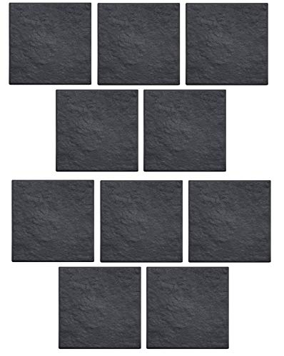 10 x Square Stomp Stone Grey Slate Stepping Stone Primeur Recycled Rubber 30cm