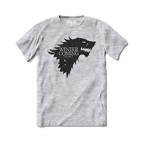 MUSH T-Shirt Stark The Winter is Coming Game of Thrones Il Trono di Spade - Serie TV - 100% Cotone Organico, X-Large Uomo, Grigio Sport