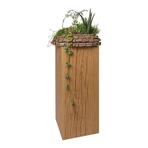 GREENHAUS Natürlich wohnen Dekosäule deutsche Eiche Massivholz 17x17 cm, handgefertigte Blumensäule und Holzsäule (30)