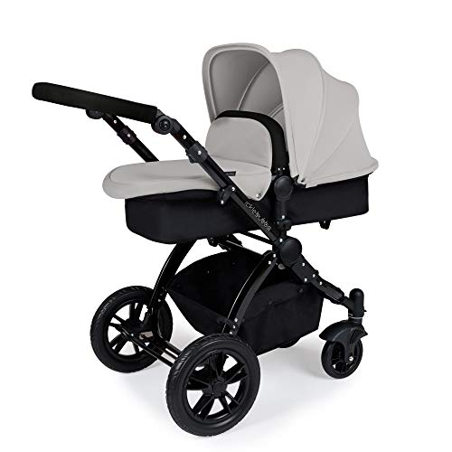 Ickle Bubba Stomp V2 All in One Travel System | Bundle Includes Carrycot, Pushchair, Car Seat, Accessories | Silver on Black Chassis