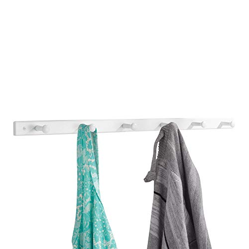 iDesign Wooden Wall Mount 6-Peg Coat Rack for Hanging Jackets Leashes Purses Hats Scarves Bags in Mudroom Kitchen Office 325 x 15 x 075 White Renewed
