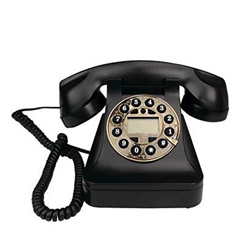 Black Classic Retro 70S Retro Style Ground Line Función del Teléfono Mechanical Retro Ringtones - Insert Standard Socket para Teléfono,Black
