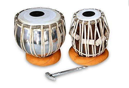 Musikbord trumma set, drottning mässing professionell kvalitet järntablett trumma set, järn bayan sheetsham trä dyan tabel, bra ljud med tofshammare, kudde och överdrag