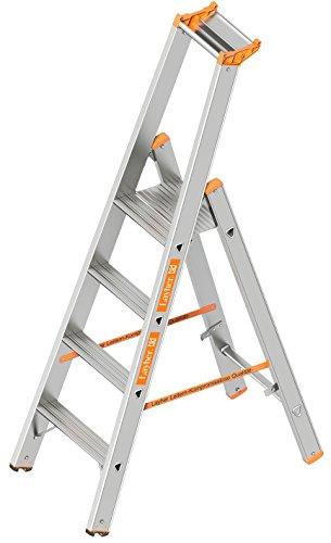 Layher 1064004 Stufenstehleiter einseitig begehbar TOPIC mit 4 breiten Stufen Aluminiumleiter klappbar mit Podest, Länge 1.70 m