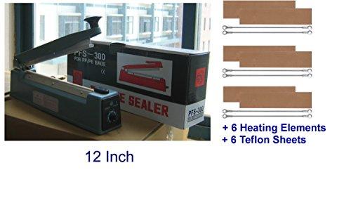 "PFS-300C 12"" Hand Impulse Sealer With +6 Heating Elements & +6 Teflon Sheets"