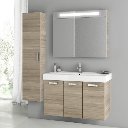 Lowest Price! ACF C89-637509924188 Cubical 2 Collection Vanity Set, Larch Canapa