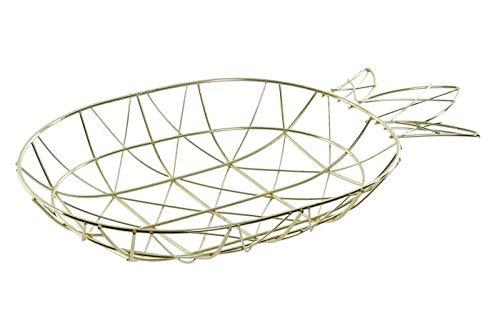 takestop Frutero de mesa de metal cromado con forma de piña dorada 34,5 x 21 x 6 cm