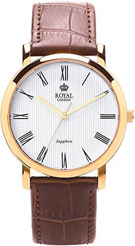 Royal London Klassische Herrenuhr mit Kroko Look Lederband 41265-03
