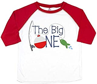 The Big One 1st Birthday Party Clothes - Red Raglan The Big One - Fishing Theme Birthday Party Shirt 12-18 Months