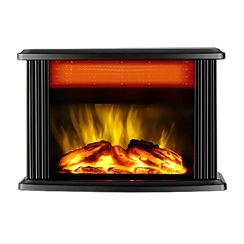 QINXUESHOP Electric Fireplace Heater, Realistic 3D Wood Burning Flame Mini Stove, Portable 2000W Ceramic Space Heater, Indoor Office, Overheating Protection