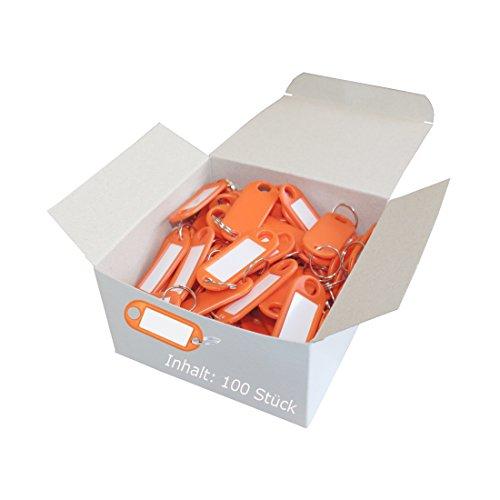 Wedo 262801806 Schlüsselanhänger Kunststoff (mit Ring, auswechselbare Etiketten) 100 Stück, orange