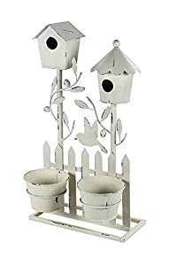 Metall Vogelhaus mit Blumentopf M – 47cm cremeweiß, schwarz