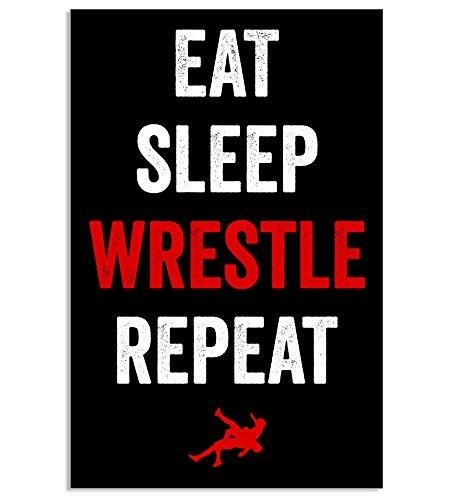 Eat Sleep - Póster de lucha libre (28 x 43 cm), diseño con texto en inglés 'Eat Sleep Wrestle Poster'