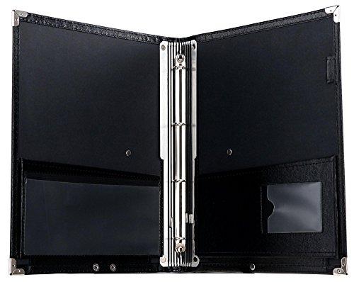 Classic Cantabile Notenmappe Deluxe Schwarz (stabiles Kunstleder, Handschlaufe, Noten bis DIN A4, herausnehmbares Ringelement, Schutzecken)
