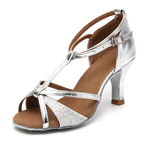 HIPPOSEUS Zapatos de Baile Latino con Correa en T para Mujer Zapatos de práctica de Baile de salón de Cuero de Lentejuelas,Plateado,38.5 EU