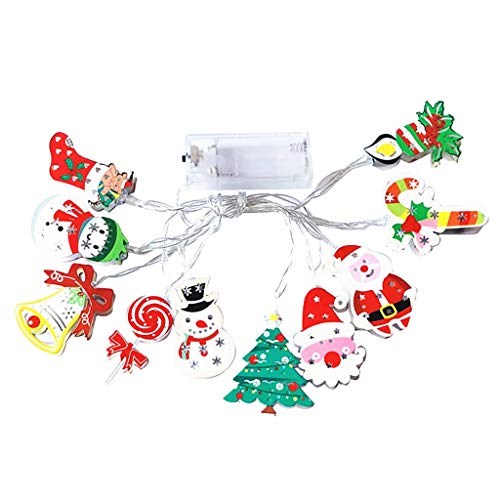 10-Light Santa Head Light Set Battery Operated Christmas Lights Santa Claus Novelty Fairy Lights for Christmas,Holidays,Party