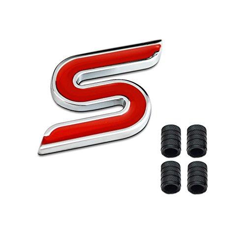 Dsycar Metal 3D S Logotipo de la divisa del coche del emblema de la etiqueta engomada + 4 piezas con estrías del estilo con tapas de válvulas núcleo de plástico #2
