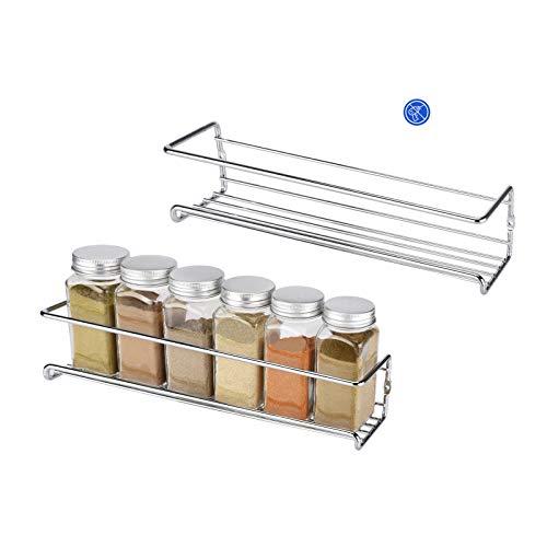 Hansiro Gewürzregal aus Metall |Stehende Küchenablage | Schrankeinsatz für Schranktür | 29 x 6 x 5 cm | Silber | 2 Stück