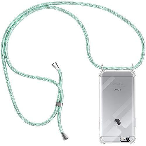 Funda con Cuerda para Apple iPhone 6 / 6s, Carcasa Transparente TPU Suave Silicona Case con Correa Colgante Ajustable Collar Correa de Cuello Cadena Cordón para iPhone 6 / 6s - Verde Menta