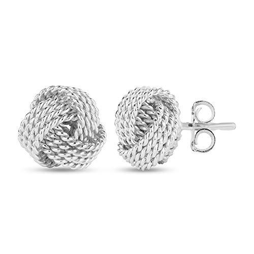 LeCalla Sterling Silver Jewelry Italian Design Diamond-Cut Wire Love Knot Stud Earrings for Women 10mm