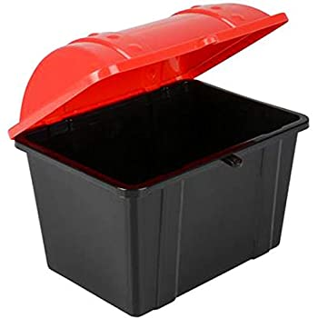 ArtCreativity Pirate Treasure Chest 1 Black Chest with Red Cover Plastic Treasure Chest Functional Storage Chest for Toys Perfect Prize Chest for Classroom Great for Imaginative Play