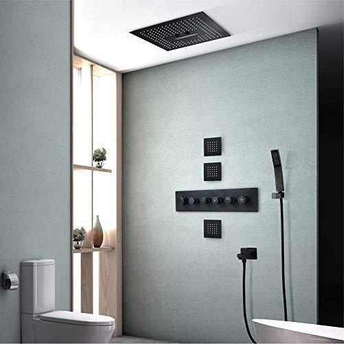 Unterputz-Dusche in die Wand eingelassene Schwarze LED-Farbwechsel-Überdachung Schwarzes oberes Spray Farbwechsel-Brausegarnitur Thermostat mit 3-seitigem Spray-Wasserhahn 4 Funktion Schön P